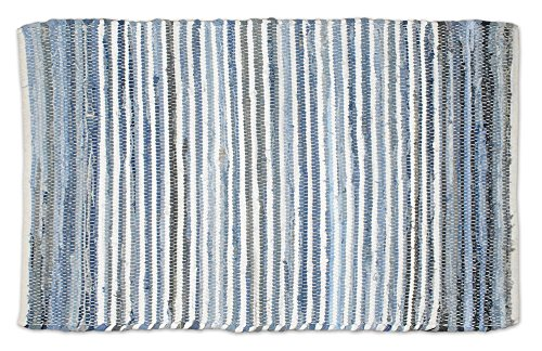 DII Contemporary Reversible Indoor Area Rag Rug, Machine Washable, Handmade from Recycled Fabrics, Unique For Bedroom, Living Room, Kitchen, Nursery and more, 2 x 3' - Denim (Rugs Throw Washable)