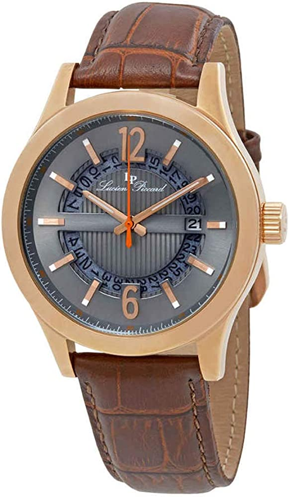 Lucien Piccard Men s Oxford Quartz Stainless Steel and Brown Leather Casual Watch Model LP-40020-RG-014-BRW