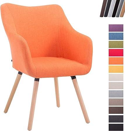 Design V2 avec I Salon CLP Design Manger Chaise I Accoudoir Fauteuil De Scandinave Rembourrée Bois A en De Pieds Tissu Chaise Salle Mccoy Orange DIW29eEHY