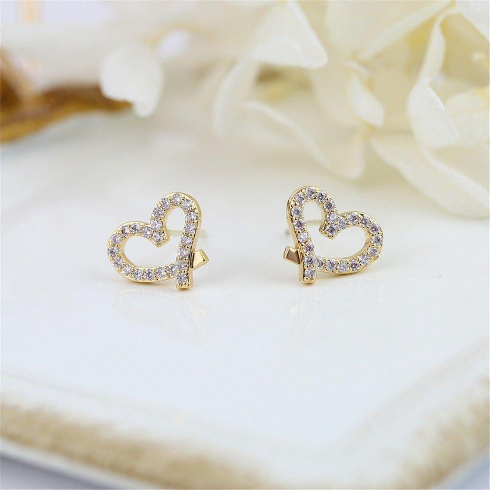 Ling Studs Earrings Hypoallergenic Cartilage Ear Piercing Simple Fashion Earrings Ear Jewelry 925 Sterling Silver Love Earrings Heart-Shaped Silver