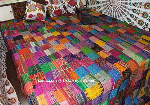 COR's King Size Patola Silk Patch Work Kantha Quilt , Kantha Blanket Bedspread, Patch Kantha Throw, King Kantha, Kantha Rallies Indian Sari Quilt, Size 90'' X 108''