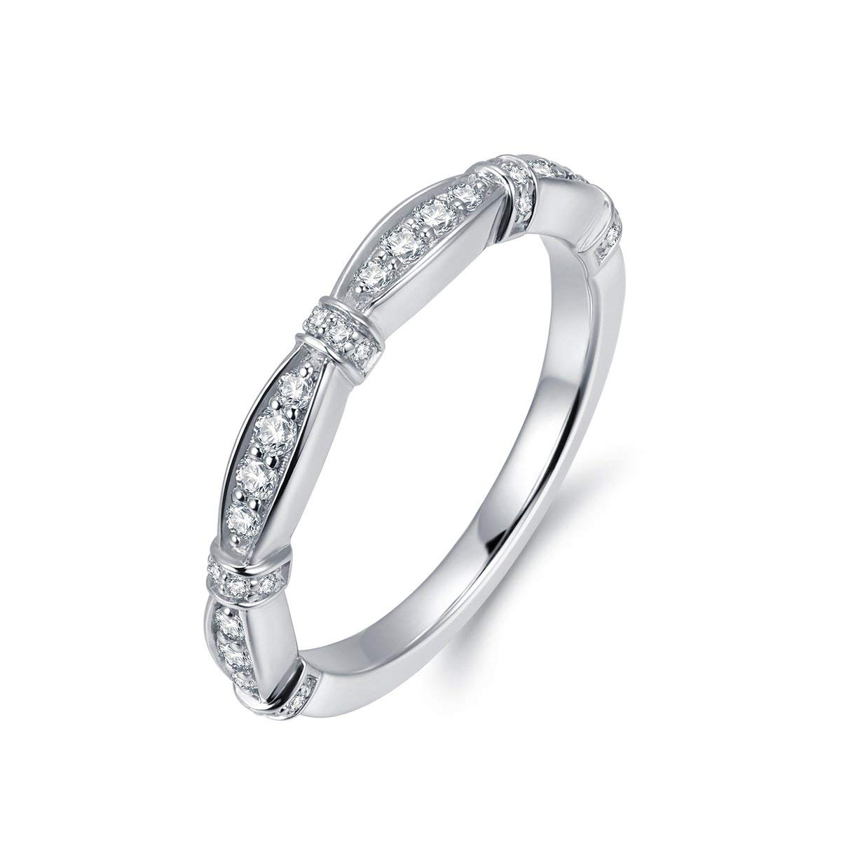 Hafeez Center New Marquise Design 2mm Micropave Simulated Diamond Cubic Zirconia CZ Wedding Band Eternity Ring for Women and Girls, Rhodium Plated Sterling Silver (7)