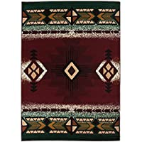 Champion Rugs Southwest Native American Indian Burgundy Red With Green Carpet Area Rug (8 Feet X 10 Feet)