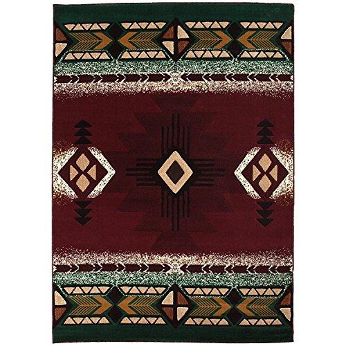 Southwest Native American Indian Burgundy Area Rug Design #CR587 (8 Feet X 10 Feet)
