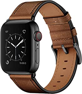 OUHENG Compatible with Apple Watch Band 42mm 44mm, Genuine Leather Band Replacement Strap Compatible with Apple Watch Series 6/5/4/3/2/1/SE 44mm 42mm, Retro Camel Brown Band with Black Adapter