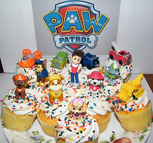 Nickelodeon PAW Patrol Figure Set of 12 Deluxe Mini Cake Toppers Cupcake Decorations Party favors Featuring Ryder, Marshall, Chase, Skye, 5 Vehicles and Special Gift]()