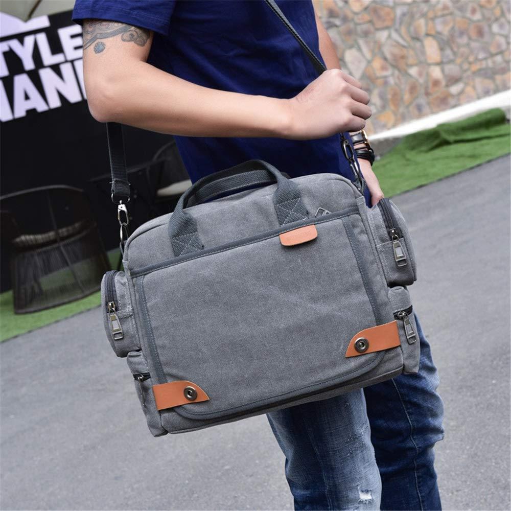 FLYSXP Mens Messenger Bag Briefcase Canvas Shoulder Bag Work Bag Multifunctional Canvas Mens Bag Fashion Mens Shoulder Bag Business Casual Handbags Mens Briefcase Khaki//Gray Briefcase
