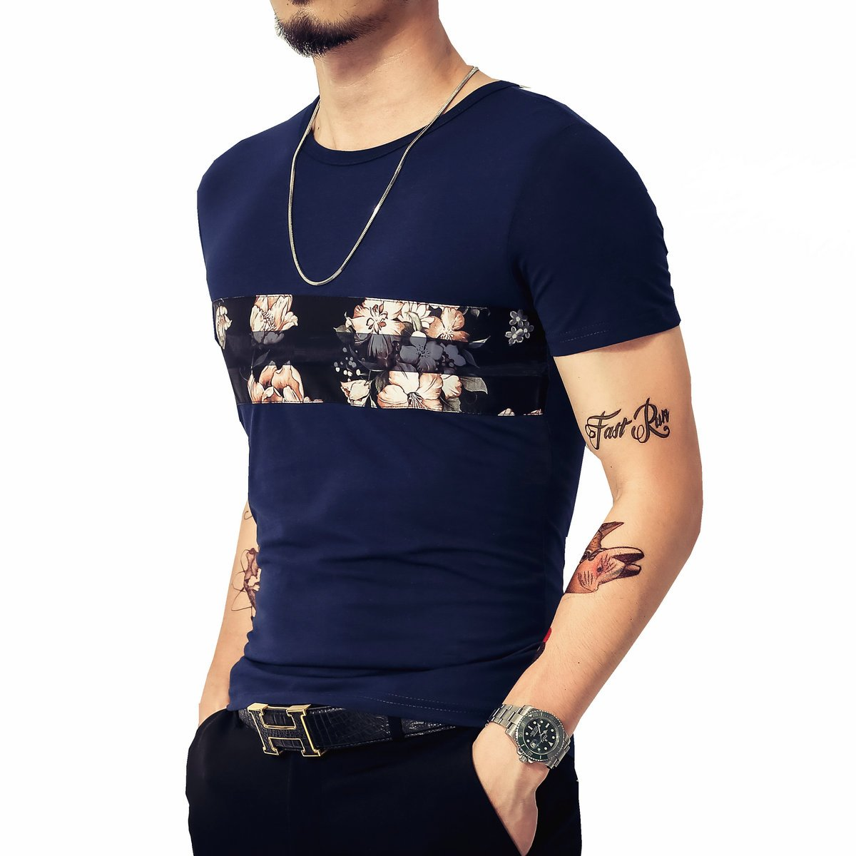 848afb45d LOGEEYAR Mens Cotton Fitted Short-Sleeve Graphic Printed Pullover Casual T- Shirt (Small