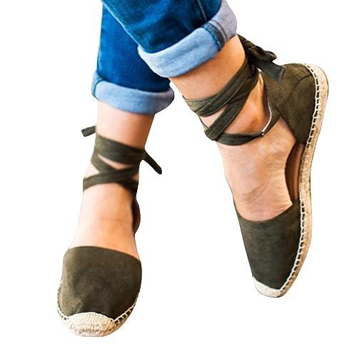 98a5a74f Poplover Zapatos Alpargatas de Ante para Mujer Verano Zapatos Planos con Cordones  Verde 35: Amazon.es: Zapatos y complementos