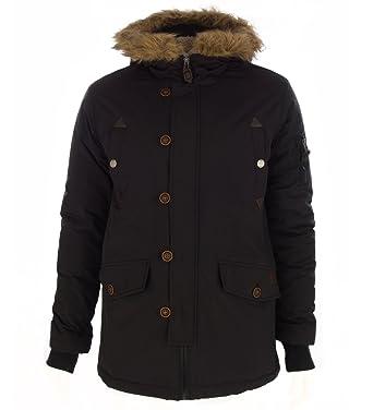 Chaqueta para hombre 3/4 con capucha con borde de pelo, abrigo de invierno
