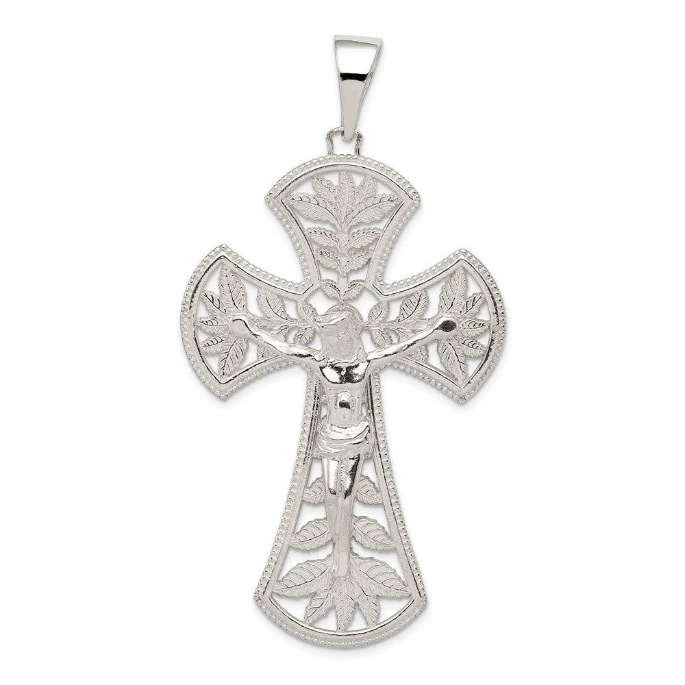 Solid 925 Sterling Silver Polished Leaf Large INRI Crucifix Cross Pendant