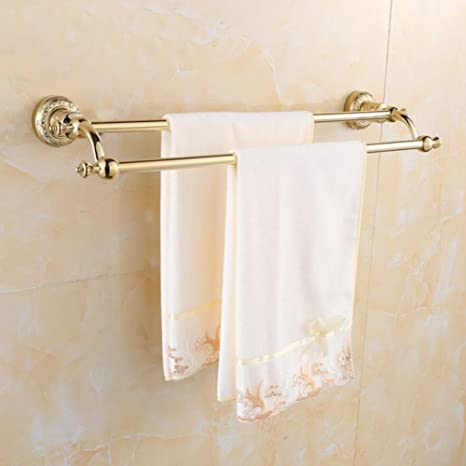 ZXY Lujoso Oro Toallero Doble Montaje en Pared Accesorios de Baño Baño  Tallado Baño Toallero Estantes aa7fb43615b2