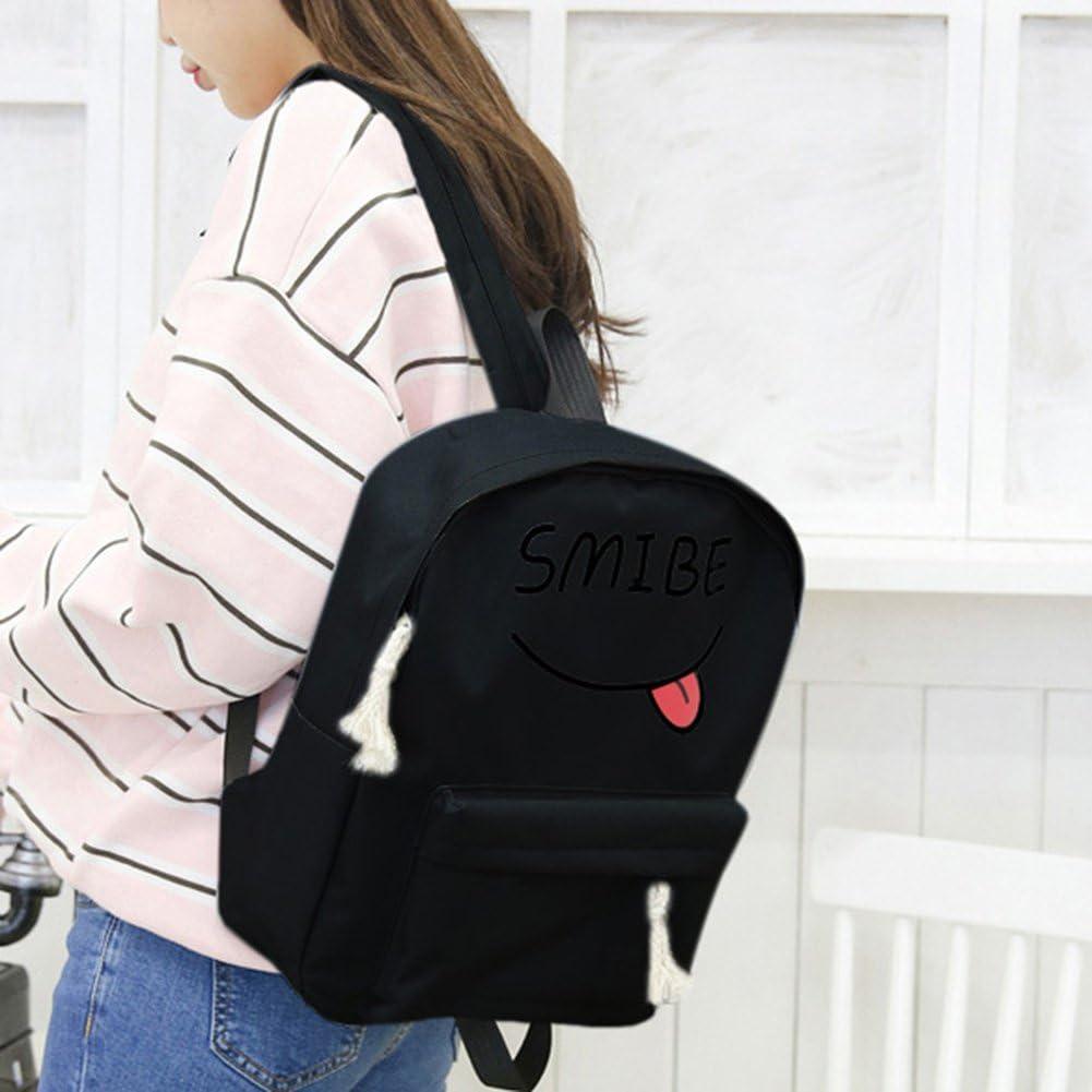 Black Diamondo Lovely Smile Printed Women Canvas Backpack Travel School Bag