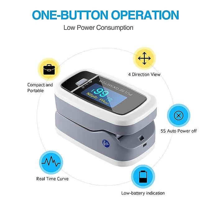 Oxímetro electrónica instantánea Digital de lectura instantánea lismile Sensor de Oxígeno y monitor de ritmo cardiaco, Gran Pantalla OLED giratorio con ...