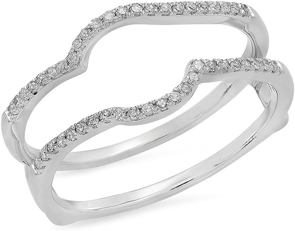 Dazzlingrock Collection 0.20 Carat (ctw) 10K Gold Round White Diamond Anniversary Wedding Enhancer Guard Double Ring 1/5 CT