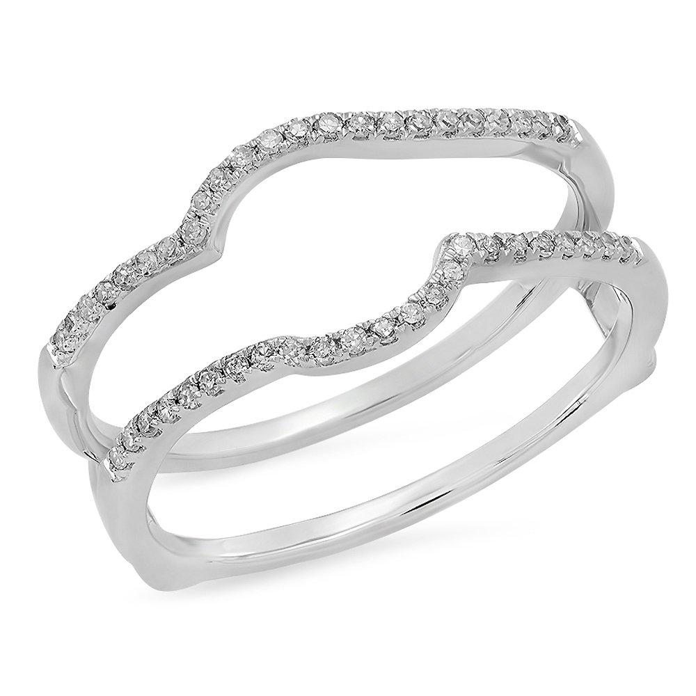 Dazzlingrock Collection 0.20 Carat (ctw) 10K Round Diamond Wedding Enhancer Guard Double Ring 1/5 CT, White Gold, Size 7 by Dazzlingrock Collection