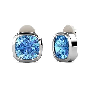 47bc6b59235d YOURDORA Mujer Azul Cristales Swarovski Pendientes Tous de Clip sin agujero  Cuadrado Joyas de Fiesta de Moda  Amazon.es  Joyería