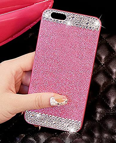iPhone 5C Case, ARSUE (TM) Beauty Luxury Hybrid Bling Rhinestone Diamond Crystal Glitter Hard Case Cover Shell Phone Case for Apple iPhone 5C (Pink + Bling, iphone (Pink Iphone 5c Phone Case)