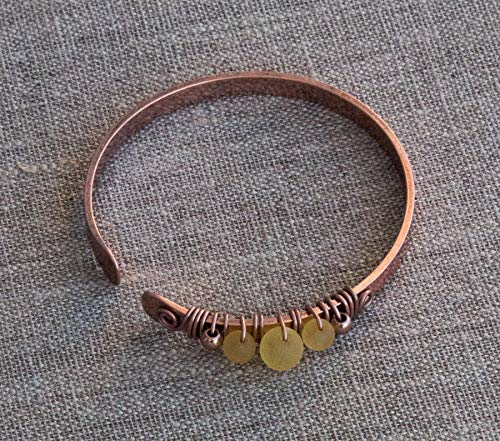 Antique Copper Amber Healing and Wellness Bracelet Handmade Wire Wrapping Forged Easy Fit Reduces Pain Soothes - Ezina Designs -