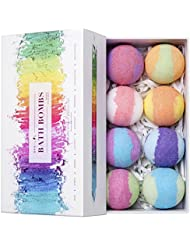Bath Bombs Gift Set, 8 Vegan Bath Bombs with Essential Oils, Best Birthday Gift Ideas for Women Best Friends, Moms, Girls, Kids, Colorful Lush Spa Floating Fizzies, Smooth Dry Skin & Deep Relaxation