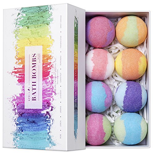 Aprilis Bath Bombs Gift Set, 8 Vegan Bath Bombs with Lush Fizzies for kids, Essential Oils Bath Bombs for Smooth Skin & Deep Relaxation, Birthday Gift for Women Best Friends, Teen Girls