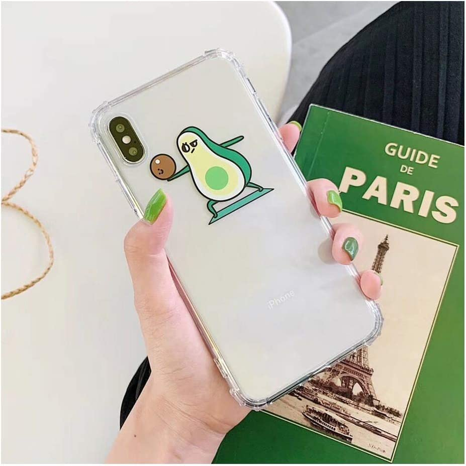 Cartoon Avocado Phone Cases Compatible for iPhone Xs Max XR 6 6S 7 8 Plus X Transparent Soft TPU Fruit Phone Back Cover Shell Gifts,Compatible for iPhone 6 6S,b