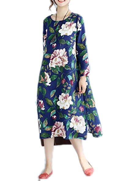 Hexu NEW New Autumn dress Cotton Linen long Sleeve Loose long dress Vintage Women dress Vestidos