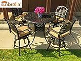 Table & Chair Designs - Malibu 5-Piece Cast Aluminum Patio Bar Set with 48'' Round Bar Table & Sunbrella Premium Cushions