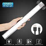 GLIME Lampe à Détecteur de Mouvement 3 Modes Lumière Auto Veilleuse USB Rechargeable LED Lumière Blanc pour Cabinet Penderie Escalier Armoire Placard Entrée Couloir Toilette Cabine