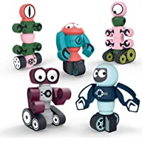 Gifts2U Magnetic Robots,35PCS Magnetic Blocks Set for Kids with Storage Box, Stacking Robots Toy STEM Educational Playset for Boys and Girls Ages 3-6 Style A