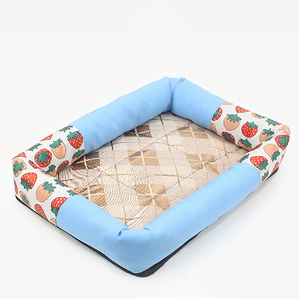 bluee S bluee S Pet Mat Summer Pet Cooler Pad Dog Cooling Pad Breathable Rim Kennel (color   bluee, Size   S)