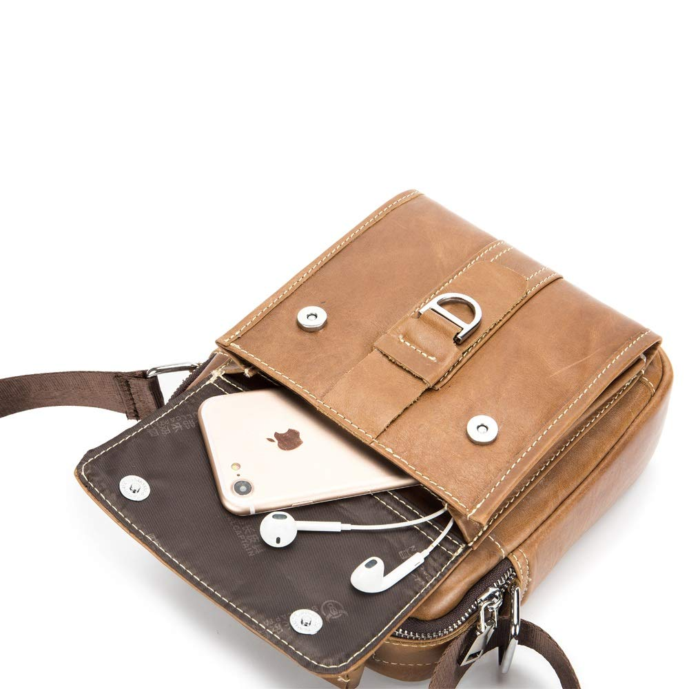 Color : Brass, Size : M XINXI-MAO Mens Shoulder Bag Vertical Leather Trend Casual Fashion Shoulder Crossbody First Layer Leather Multifunction Pouch