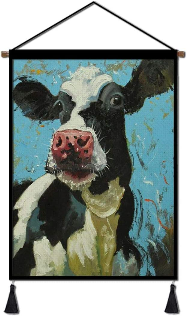 Wall Decor Hanging Poster Rustic Funny Farm Cow Oil Painting, Hanger Scroll Art Linen Canvas with Tassel Ready to Hang for Living Room Bedroom Dorm Office(18''Wx26''H)