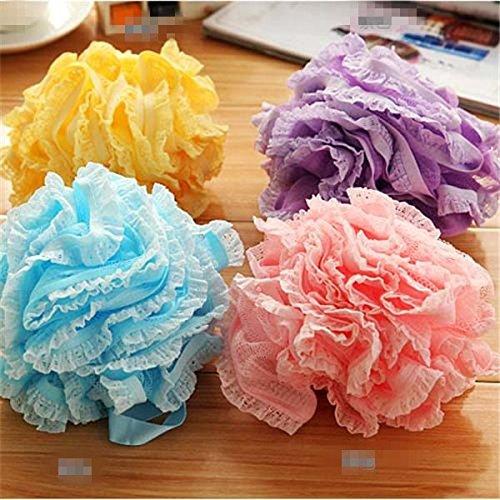 EQLEF® 1 Stück Shintop Packung mit Netzstrumpf Dusche Pouf Bad Exfoliate Schwamm Luffa Blumen-Spitze-Kugel-Farbe Random