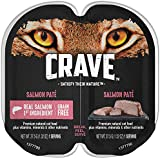 Crave Grain Free Adult High Protein Wet Cat Food Paté Salmon, (24) 2.6 oz. Twin-Pack Trays
