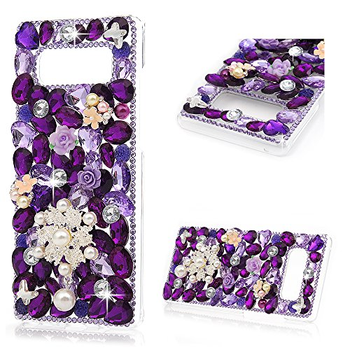 Maviss Diary Note 8 Case, Clear Slim Fit Luxury 3D Handmade Bling Crystal Rhinestone Diamonds Purple Gems Lace Pearl Flower Full Body Protective Hard PC Cover for Samsung Galaxy Note 8