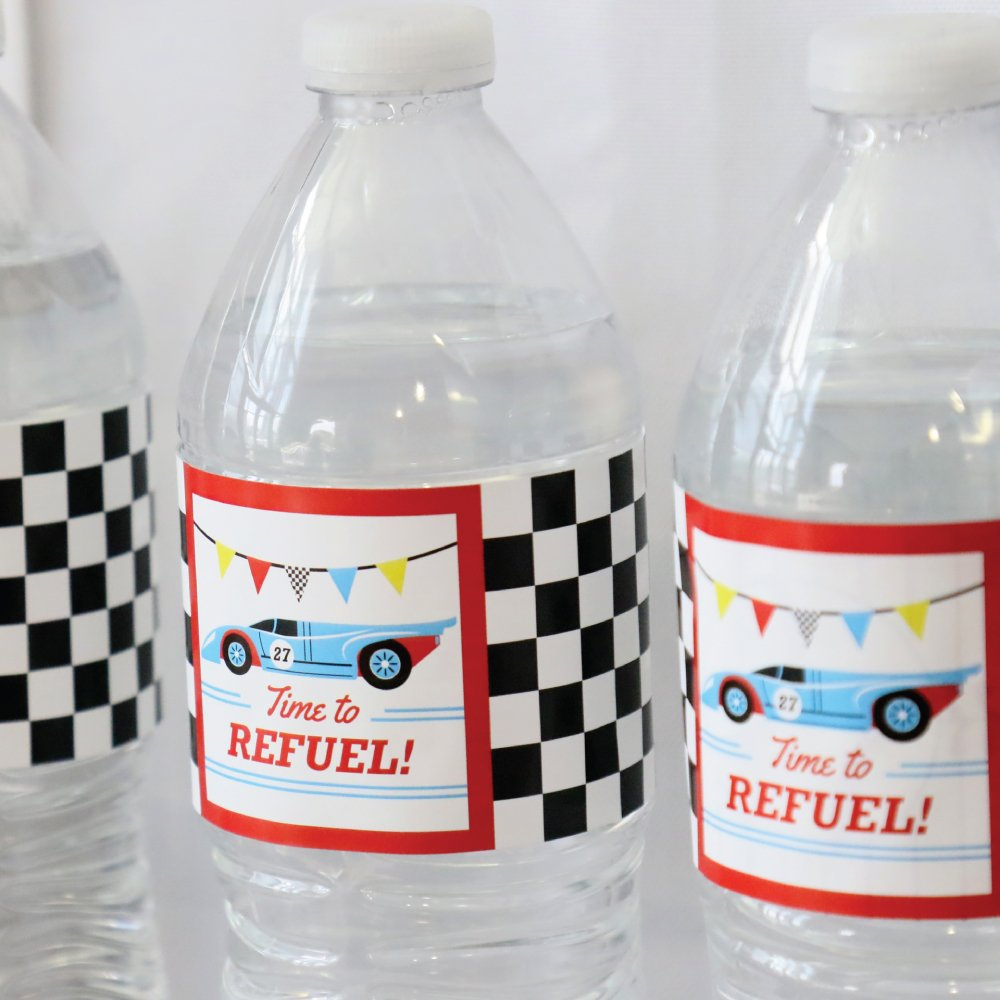 Let/'s Go Racing Race Car Birthday Party or Baby Shower Water Bottle Sticker Labels Racecar Set of 20
