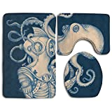 Octopus Ocean Animal 3 Piece Bathroom Rug Mat Set Soft Memory Foam Bath Carpet Contour Rug With Lid Cover