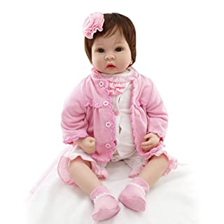 Togames-IT 55 Centimetri Bambole del Bambino rinato Corpo in Tessuto con Bambola Peluche Orsacchiotto Giocattoli Regalo Bambino Bambola Morbida in Silicone con Vestiti Imitazione Bambino Haha