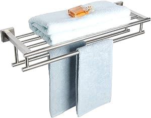 Alise GZ8000-LS Bathroom Lavatory Towel Rack Towel Shelf with Two Towel Bars Wall Mount Holder,24-Inch SUS 304 Stainless Steel Brushed Nickel