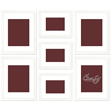 craig frames 7 piece picture wall frame set white frames and display mats