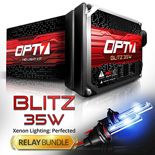 Blitz 35w HID Xenon Conversion Kit w/ Relay & Capacitors Bundle 9006 [6000K Lightning Blue] 2 Yr Warranty