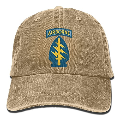 US Army Special Forces Flag Trend Printing Cowboy Hat Fashion Baseball Cap For Men and Women Natural (Us Forces Army Flag Special)