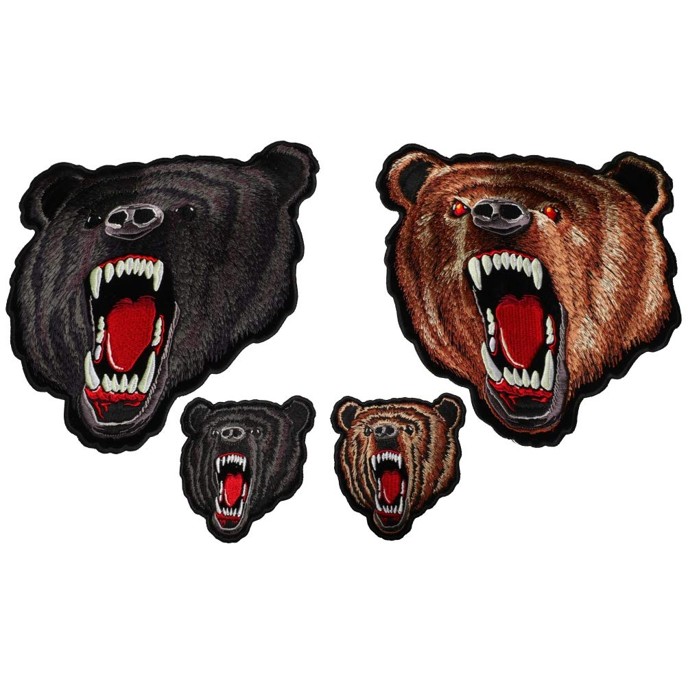 Brown and Black Bears Small and Large Set of 4 Patches - 4-10 inches - Embroidered Iron on Patch by Ivamis Trading