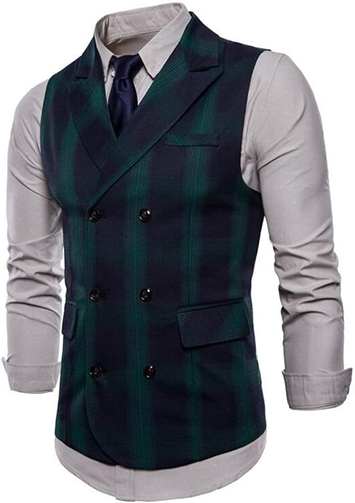 Cafuny Mens Sleeveless V-Neck Double Breasted Grid Plaids Dress Vest Waistcoat