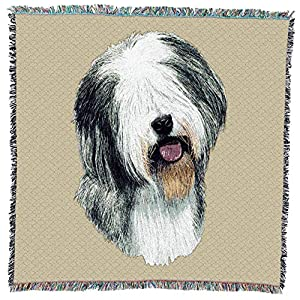 Pure Country Weavers - Old English Sheepdog Woven Throw Blanket with Fringe Cotton. USA Size 54x54 37
