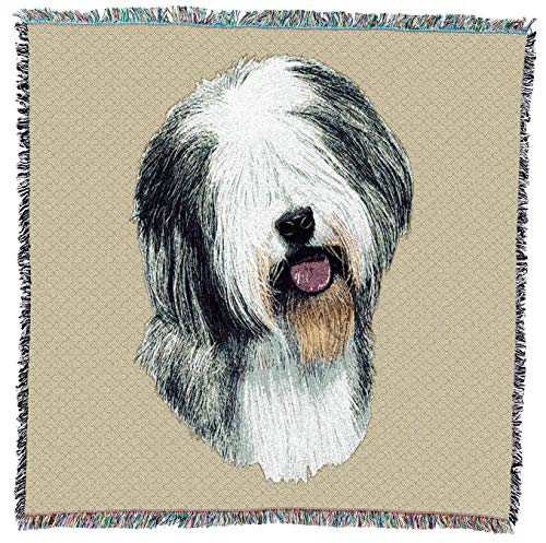 Pure Country Weavers - Old English Sheepdog Woven Throw Blanket with Fringe Cotton. USA Size 54x54