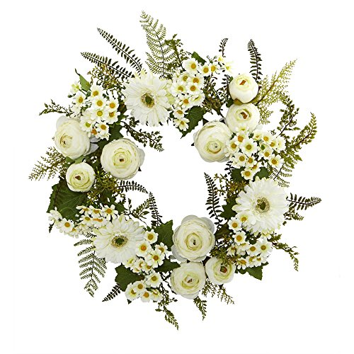 Nearly Natural Mixed Daisies and Ranunculus Wreath, 24