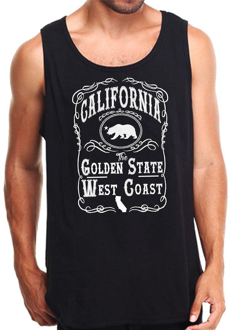 CaliDesign Mens Golden State Tank Top Black White California West Coast