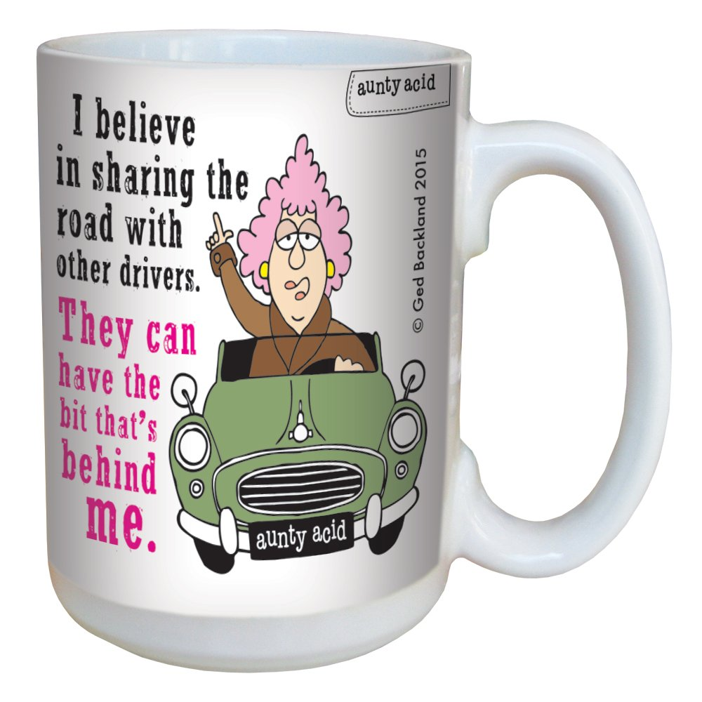 LM46577 Aunty Acid Drive Behind Me Tree-Free Greetings 15-Ounce Ceramic Mug with Full-Sized Handle